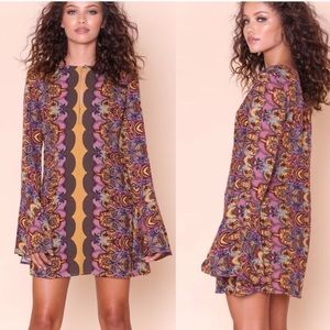 Free People•Ossie Vibes Tunic Mini Dress Gold NWT!